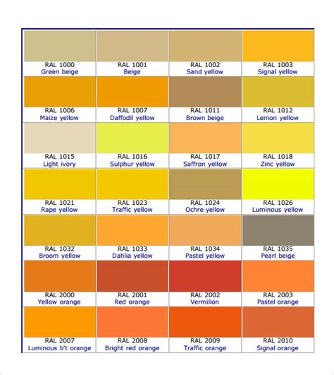 ral color chart ral color chart 9 free documents in pdf