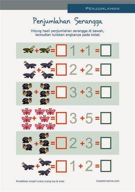 Buku Anak Belajar Matematika Ceria Untuk Paud Tk matematika paud belajar anak tk penjumlahan sd angka 1 10 gambar serangga belajar anak
