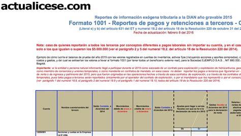 formatos de exogena del 2016 oro formato 1001 informaci 243 n de pagos o causaciones a