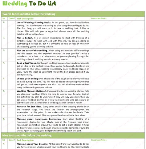 Wedding Planner To Do List by Document Templates Best Wedding To Do List With