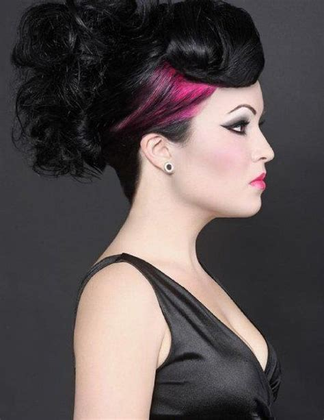 elegant goth hairstyles black and pink gothic hair colors ideas