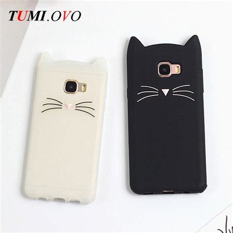 Softcase Silicon 3d Kawaii Bowtie Cat Samsung A720 A7 2017 3d beard cat silicone soft for samsung galaxy a3 a5 a7 j1 j3 j5 j7 2016 2017