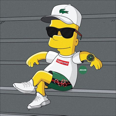 Bart Simpsons X Supreme chillout bart creativity drawings