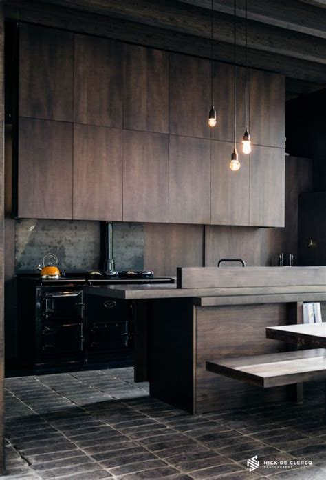 Industrial Style Kitchen Cabinets by Picture Of Moody Industrial Style Kitchen With Timber