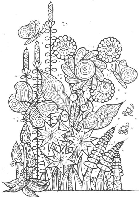 Butterflies and Bees Adult Coloring Page   FaveCrafts.com