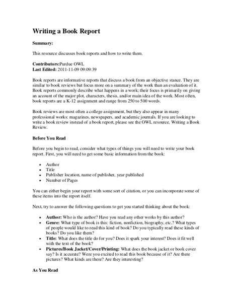How Write A Book Report by College Application Report Writing Form