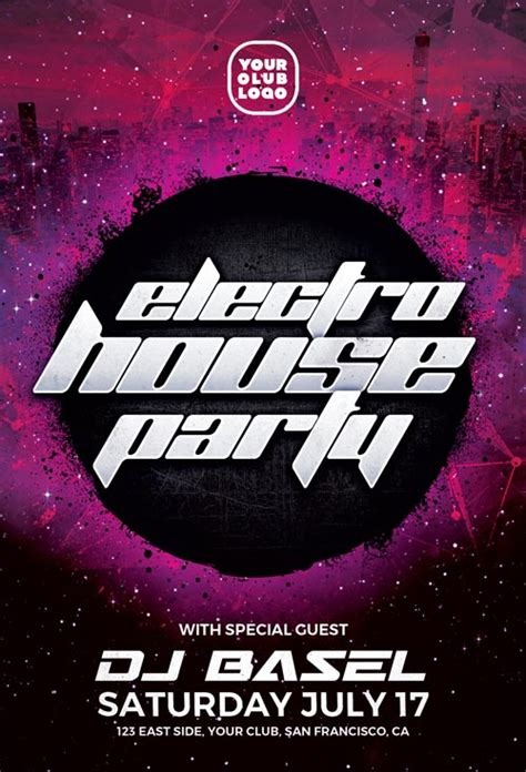 electro house free party flyer template download free