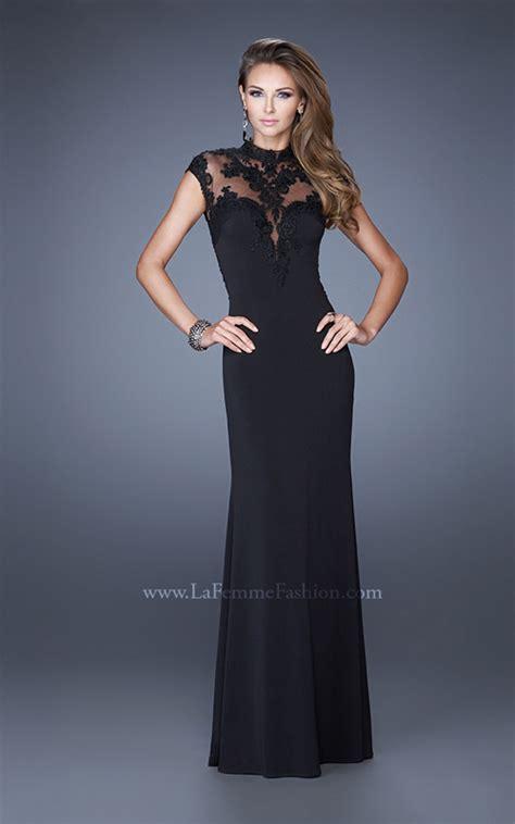la femme 20650 illusion hi neck formal dress french novelty la femme 20650 la femme