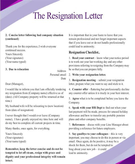 Resignation Letter Relocation Sle Resignation Letter Due To Relocation Template 5 Free Word Pdf Format Free