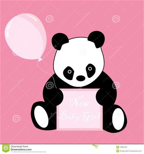 Baby girl arrival announcement panda card stock illustration image 14867334