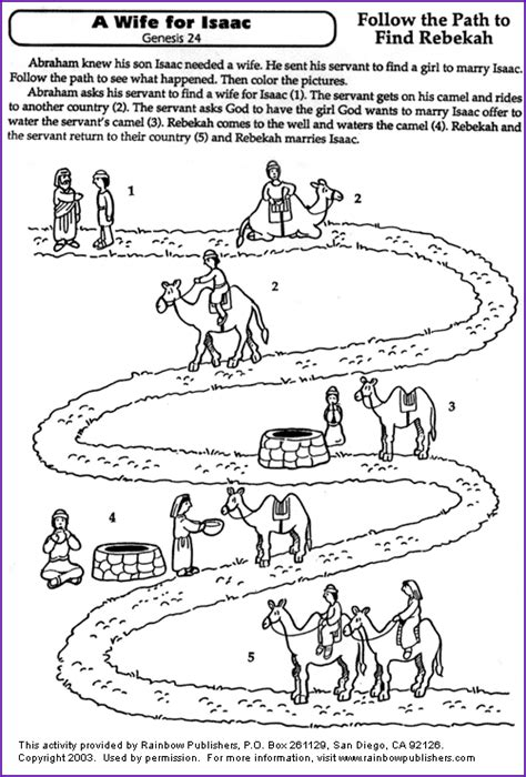 preschool coloring pages abraham a wife for isaac coloring page kids korner biblewise