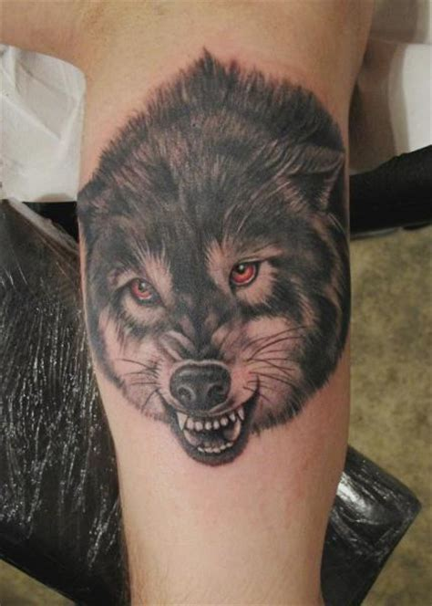tatouage r 233 aliste jambe loup par blood for blood tattoo