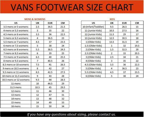 vans shoe size chart image result for vans shoe size chart and womens