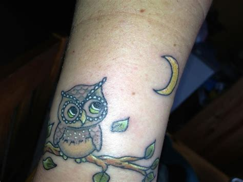 owl and moon tattoo owl moon my tattoos owl looking at