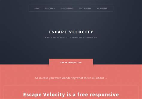 escapevelocity responsive html5 themes templates