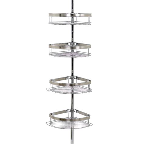zenna home premium metal pole shower caddy in chrome 2133ns the home depot Bathroom Shower Racks