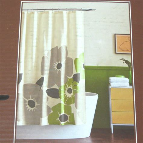 dwell shower curtain dwell studio pansy green gray cream fabric shower curtain