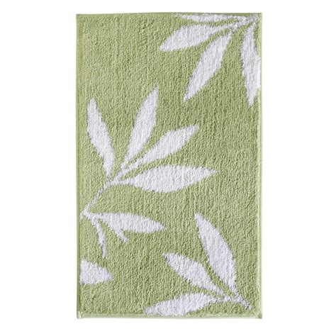 green bath rugs interdesign leaves 34 in x 21 in bath rug in green white 17413 the home depot