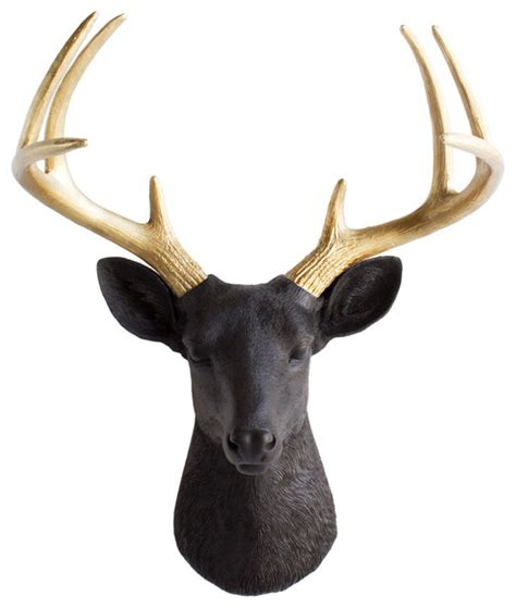 modern deer wall mount wall charmers deer with gold antlers faux taxidermy