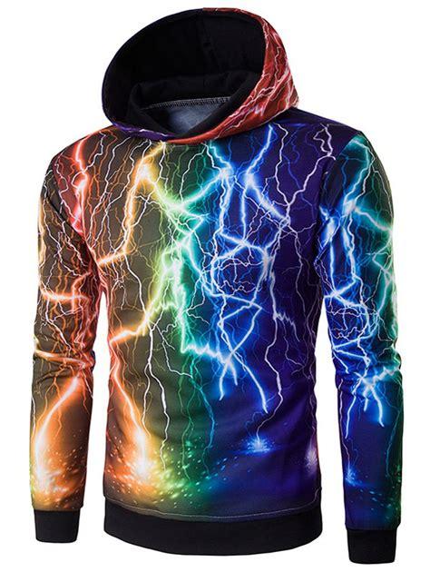 Hoodie 3d 3d colorful lightning pattern hoodie in black l