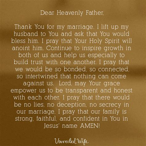 prayer of the day building trust with my husband