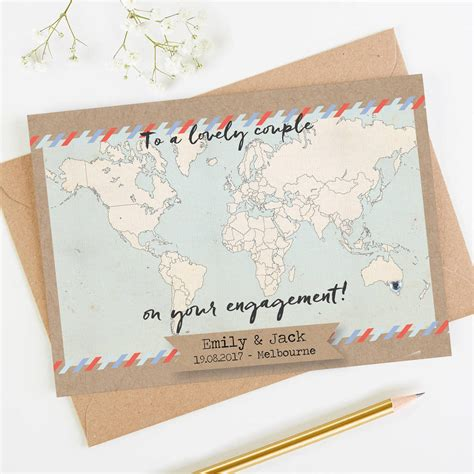engagement cards template personalised world map engagement card by norma dorothy