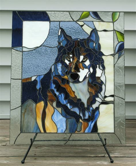 mosaic wolf pattern stained glass wolf my lonely blue wolf in outside light