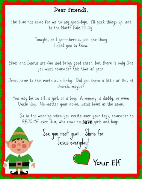 free printable letters from elf on the shelf free printable elf on the shelf goodbye letter jesus