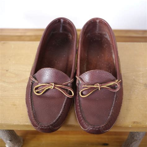 ll bean mens leather slippers ll bean burgundy brown leather driving moccasin boat shoe