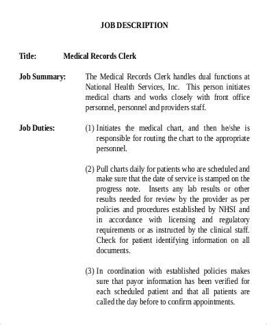 records clerk description sle 9 exles in word pdf