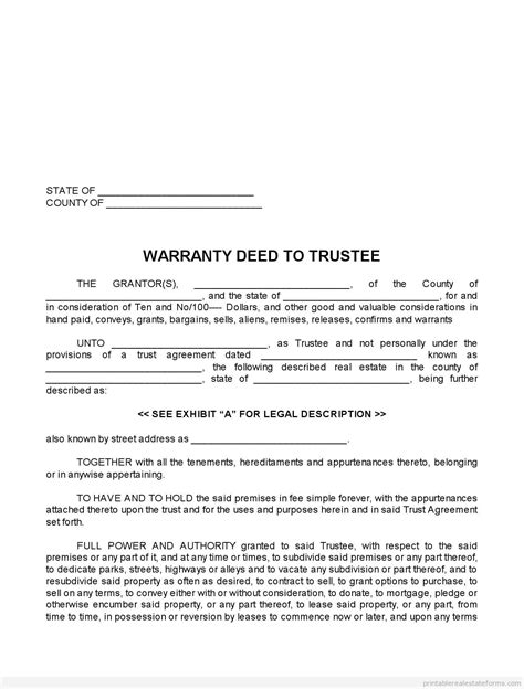 Free Warranty Deed Forms Printable(SAMPLE PDF TEMPLATE)