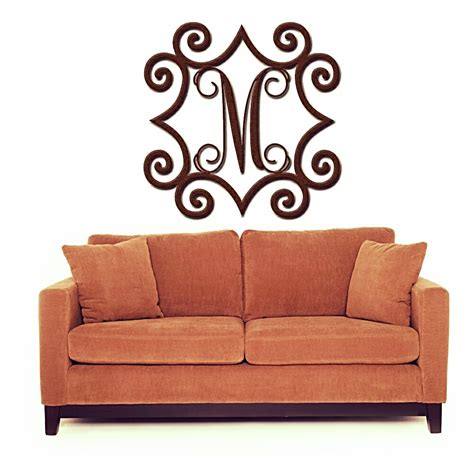 inspired wall decor wrought iron inspired wall with monogram initial indoor