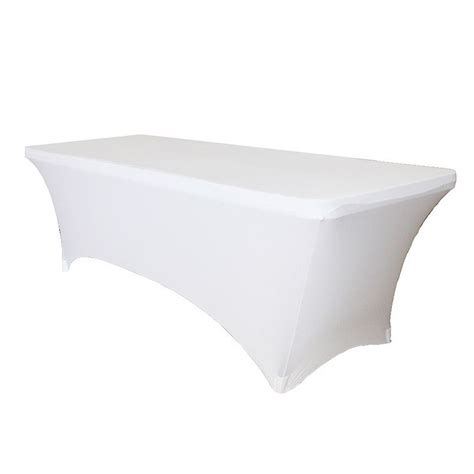6ft table cloth 6ft white lycra spandex stretch table cloth covers wedding