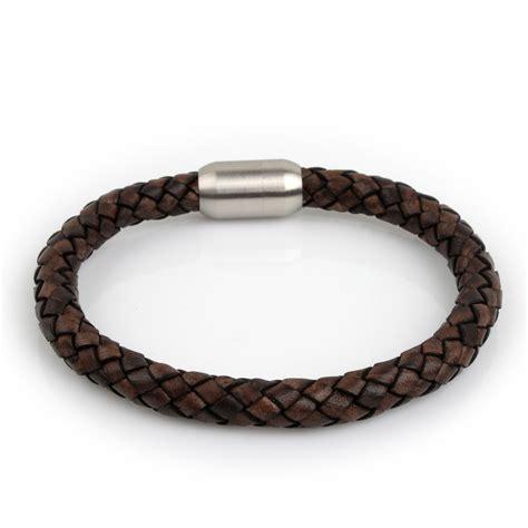 Leather Bracelet 10 braided leather bracelet brown 8mm silver half barrelrichbud handmade leather craft