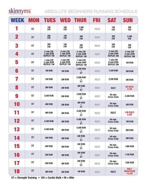 printable running schedule running program for absolute beginners half marathons