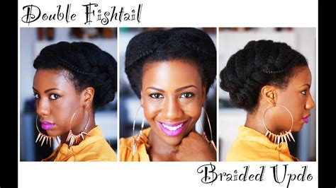 double fishtail braid natural hair updo youtube