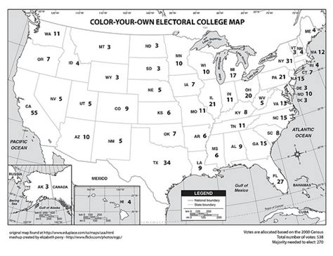 us map you can color color your own electoral college map flickr photo
