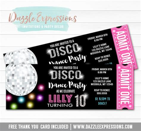 printable dance tickets 17 best images about birthday invitations on pinterest