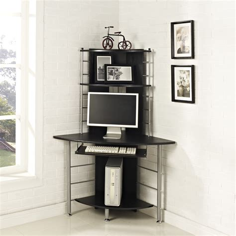 Life Carver Corner Computer Desk Black Mdf Home Office Black Corner Office Desk
