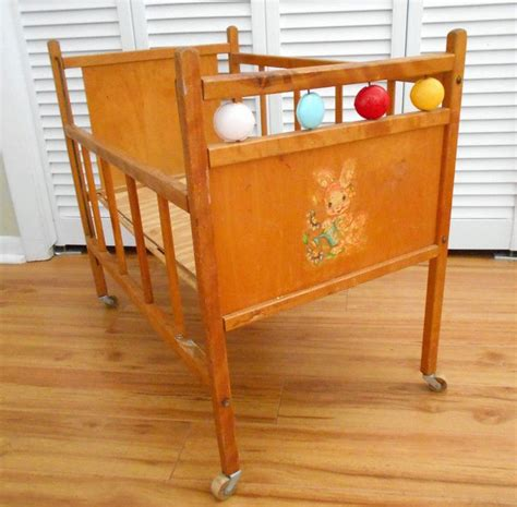Wooden Baby Doll Crib Vintage Honey Finish Plastic Disc Wooden Baby Cribs