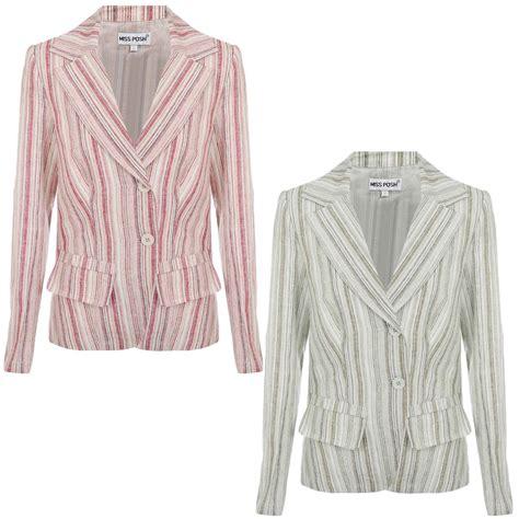 Cotton Tunik Blazer miss posh womens striped linen cotton summer button tunic jacket blazer
