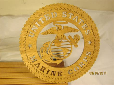 united woodworking us marine corps scroll saw plaque hobbyist license 31522