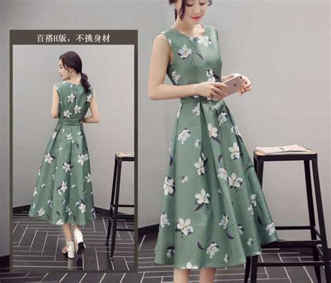 Tkwzqt Dress Motif Bunga Dress Bunga Dress Midi Dress Pesta Selutut midi dress wanita modis terbaru tanpa lengan motif bunga warna hijau a3125
