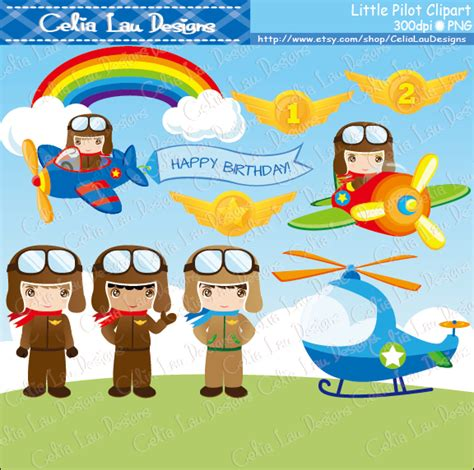 pilot digital clipart cute airplane plane clipart