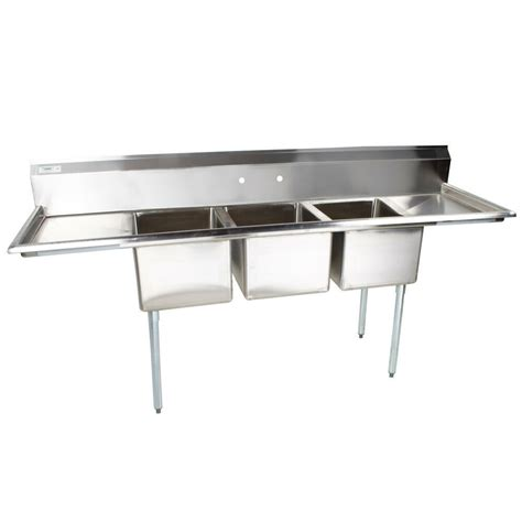 Stainless Steel Commercial Sinks by 103 Quot Stainless Steel 3 Compartment Commercial Sink With 2