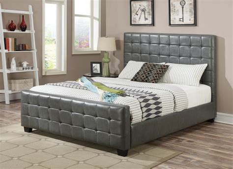 grey leather bed coaster 300037f grey full size leather bed steal a sofa