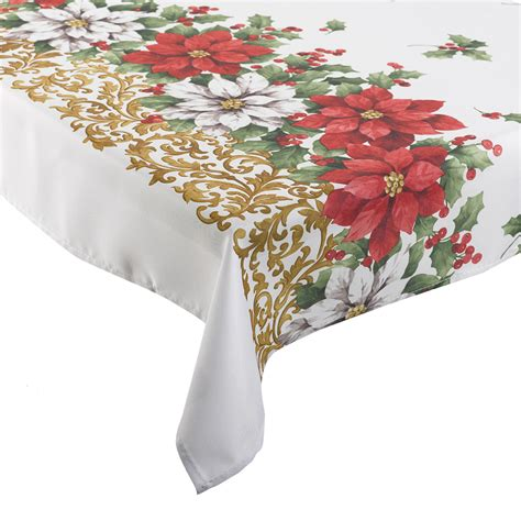 Exceptional Holiday Christmas Tablecloth #2: Poinsettia-manita-floral-christmas-table-cloth.jpg