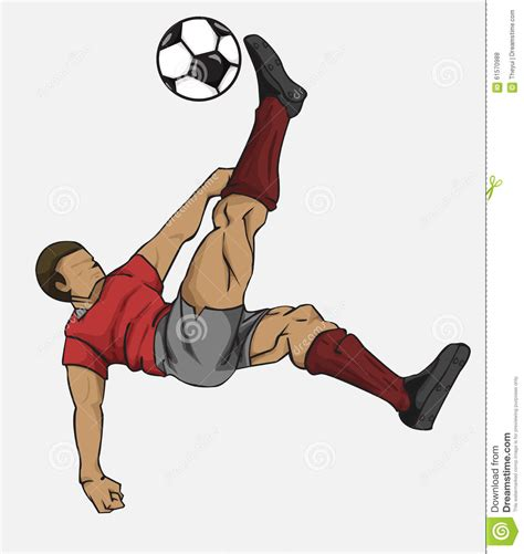 Kicking The vector illustration soccer player kicking the stock