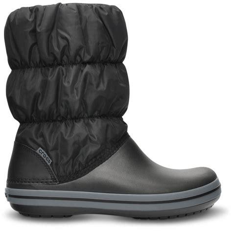 crocs boots crocs womens winter puff boot black charcoal puffed boots