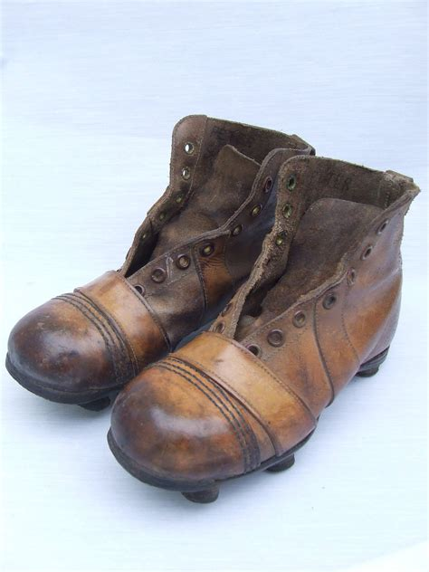 early 20th century boys leather football boots football